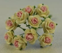 1 cm OFF WHITE with PINK CENTER Mulberry Paper Roses